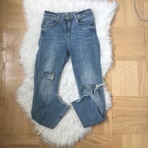 High waisted Zara ripped jeans